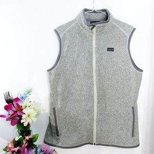 Patagonia Heather Grey Zip Fleece Sweater Vest